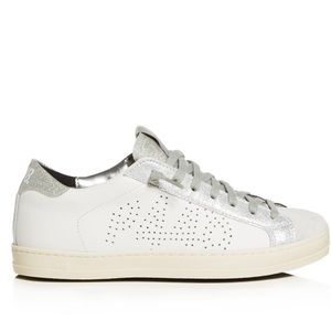 P448 John Sneakers leather white silver 41